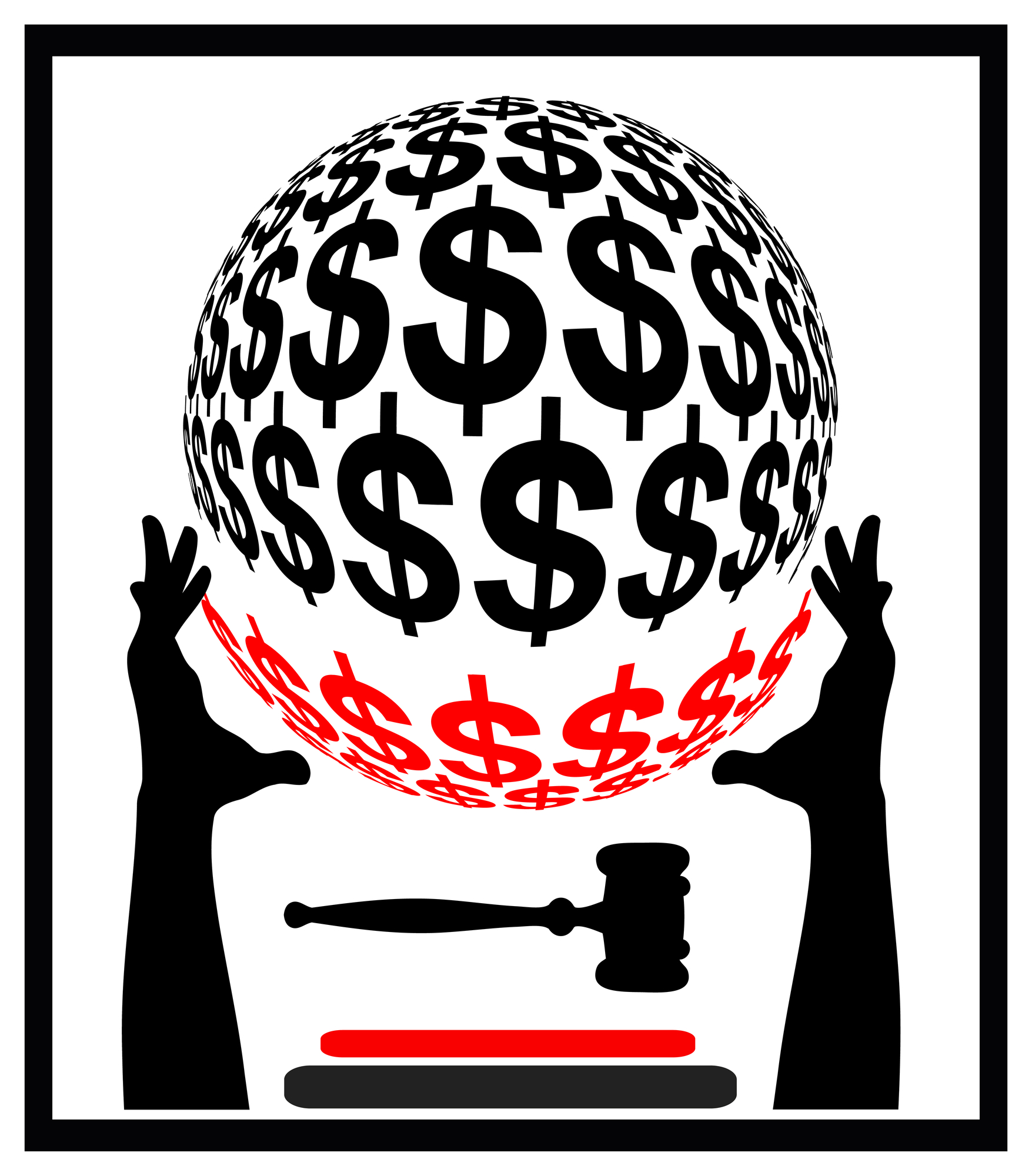 graphic of hands holding ball of dollar signs with court gavel underneath ball